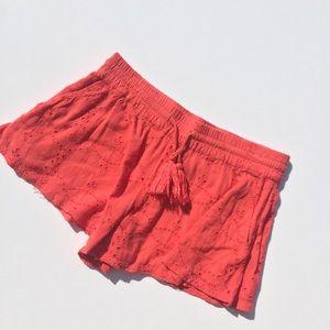 Free People Coral Eyelet Shorts